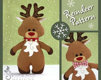Reindeer Sewing Pattern PDF  - Reindeer Stuffed Animal Pattern - Reindeer Plushie Pattern - Rudy The Red Nosed Reindeer