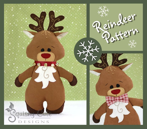Reindeer sewing pattern pdf reindeer stuffed animal pattern for Couture a rennes