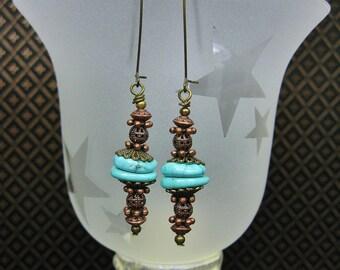 Western Cowgirl Earrings / Howlite Turquoise Drops / Dangle Drop Earrings / Copper Brass Earrings - MeSa