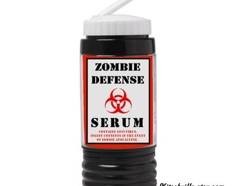 Funny ZOMBIE DEFENSE  SERUM Water Bottle To Prepare For The Apocalypse