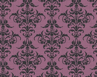 Chillingsworth From Andover - Purple and Black Damask - Full or Half Yard