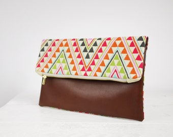 SALE!!! Modern brown Leather clutch | Fold over clutch | fold over leather clutch