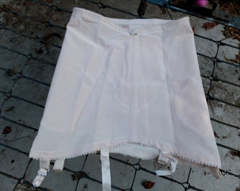 Vintage 1950s Original YOUTHCRAFT Creation Garter Girdle / Open Bottom Girdle w/6 Garters / PIN UP,Burlesque / Pink, Medium