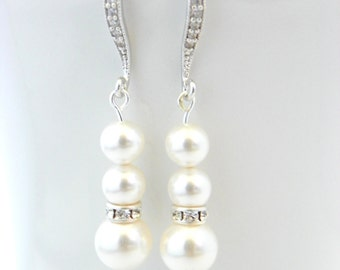 Bridal Earrings Pearl, Bridal Earrings, Pearl Earrings Bridal, Pearl Wedding Earrings, Bridal Pearl Earrings Dangle, Wedding Earrings Pearl