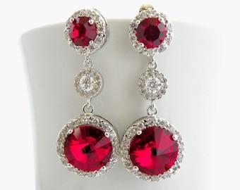 Red Drop Wedding Earrings, Bridal Dangle Earring, Siam Red Swarovski Crystal Earring, Long Bridal Jewelry, Red Earring for Wedding Statement