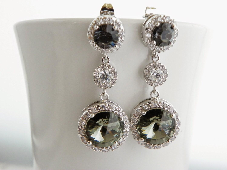 Gray Swarovski Earrings Black And White Long Bridal Post Round. Big Mens Wedding Engagement Rings. 24k Wedding Rings. Baylor Rings. Detailed Gold Rings
