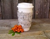 Coffee Cup Cozy, Coffee Mug Cozy, Cable Knit Coffee Cup Sleeve in Oatmeal Tweed, Travel Cup Cozy, Travel Mug Cozy, Off white