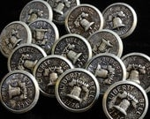 Vintage Buttons Liberty Bell 1776 SILVER Lot of 10 Metal Buttons SMALL Size -Philadelphia Independence Hall Bicentennial- Multiple Available