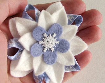 Winter Holiday Felt Flower Pin - White and Periwinkle Blue with Snowflake Button and Snowflake Ribbon - Hanukkah