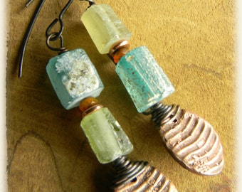 Roman Glass Earrings Aqua Yellow Green Artisan Copper Rustic Jewelry