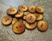 14 Handmade Red Wood Buttons. Just Under 1 Inch Wide.