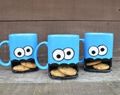 Personalized Googly Eyed Monster Dunk Mug - Ceramic Cookie and Milk Mug - Custom Add a Name / Message - Made to Order