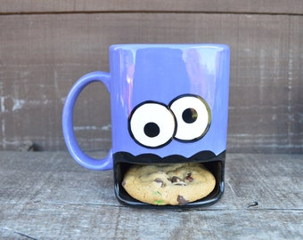 Heather Purple Googly Eyed Monster Ceramic Cookie and Milk Dunk Mug - Ready to Ship