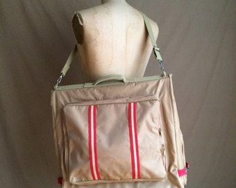 vintage 1980's  garment bag / carry on / luggage / suitcase / travel bag / overnight bag / lock and key