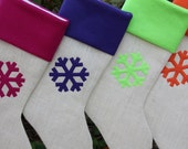 Christmas Stockings, set of four burlap stockings - You Design Burlap Christmas Stockings - Simple, Woodland Theme