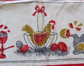 Vintage 1950's Chicken in a basket Tablecloth vibrants colors Free Shipping