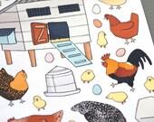 Chicken Flock Sticker Sheet - Hens, Rooster, Chicks, Eggs, Coop, Feed, Waterer
