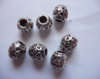 Bead, Antiqued, Silver Finished, Pewter, Zinc Based Alloy, 8x8mm, Barrel,  3mm hole, Pack Of 10 beads.