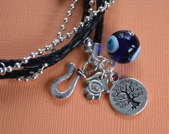 Evil Eye Protection Black Leather And Chain Bracelet With Tree Of Life And Hamsa