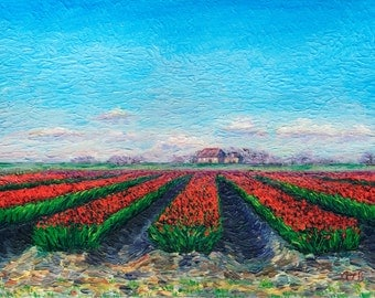 Giclee print, Field of Tulips, 9 x 12 in.