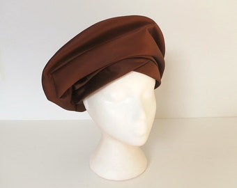 60s hat / 60s turban hat / vintage 60s brown satin hat / 1960s fashion hat / Eatons of Canada