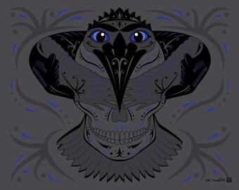 Raven's Guidance Sugar Skull Print 11x14 print