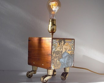 Custom Made Upcycled Caster Table Lamp