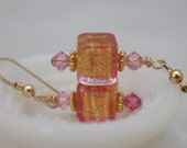 Venetian Glass Pink Gold Cube Earrings 14K Gold Filled
