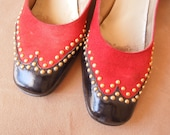 LAST CHANCE SALE...Vintage 70's Spectator Pumps, Oxford StyleTwo Tone Brick Red and Black Patent, with Gold Studs, Size 8, Chunky Low Heels