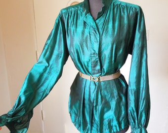Vintage Silk Shirt, GORGEOUS Shimmery Forest Green Poet's Shirt, Boho Festival Rock n Roll Gypsy Style,Size Medium to Large