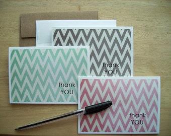 Chevron Thank You Notes - Ikat Chevron Geometric Stationery, Modern Chevron Note Card Set, Red Mint Grey Brown Teal Pale Green Ikat Design