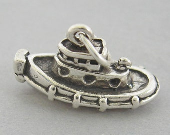 Sterling Silver 925 Charm Pendant 3D TUG BOAT Ship 2721