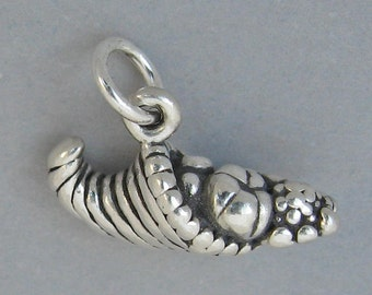 Sterling Silver 925 Charm Pendant 3D THANKSGIVING CORNUCOPIA Horn Of Plenty 3818