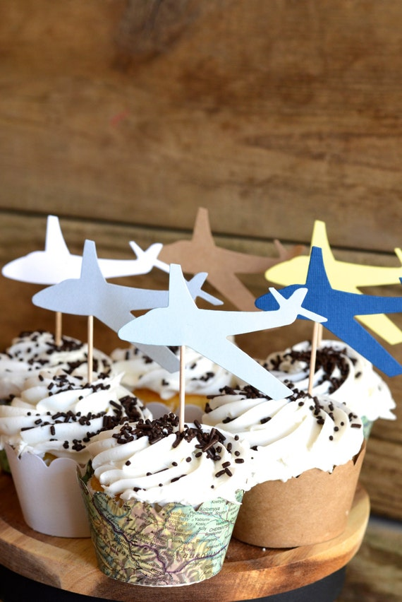 Airplane Cupcake Toppers - Choose from white, blue, grey, yellow, kraft, or a combination!
