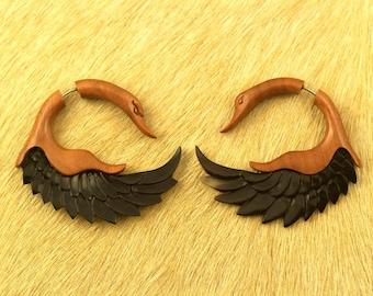 Fake Gauges, Handmade, Wood and Horn Earrings, Cheaters, Organic, Plugs, Split, Tribal Style - Sankofa Wings Sabo Wood and Horn