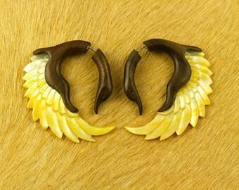 Fake Gauges, Handmade, Wood Earrings, Cheaters, Organic, Plugs, Split, Tribal Style - Sankofa Shell Wings  MOP Brown Wood