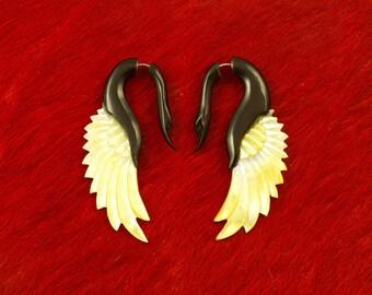 Fake Gauges, Handmade, Horn Earrings, Cheaters, Organic, Plugs, Split, Tribal Style - Yafah Shell Wings  MOP Horn