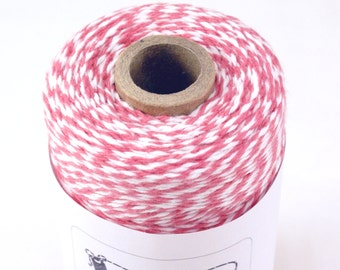 BOLD Bakers Twine 240 yard spool STRAWBERRY PINK & White Twine String for crafting, gift wrapping, packaging, invitations