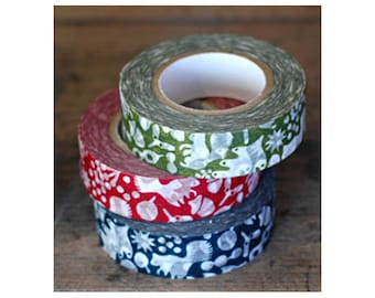 Classiky Japanese Washi Tape Set - Squirrels in the Forest with Twigs, Branches, Acorns and Leaves - red, blue, green