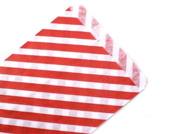 Red party favor bags - 20 Red favor bags with stripes 5 x 7 - party favor bags, wedding favor bags, gift bags
