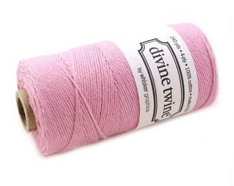 SOLID PINK Bakers Twine 240 yard spool - light pink bakers twine - cotton twine string for crafting, gift wrapping, packaging, invitations