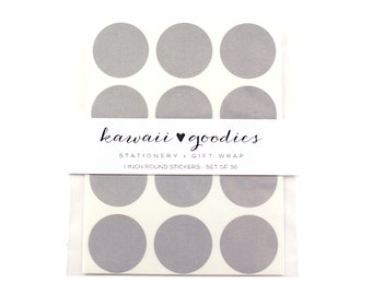 36 Dove Grey Circle Stickers - 1 inch round grey labels - FREE SHIPPING