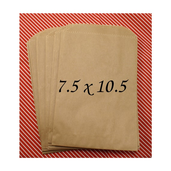50 LARGE natural Kraft brown paper bags  7 1/2 x 10 1/2 inch - for Packaging, Party Favors, merchandise bags, retail bags, Gift Wrapping