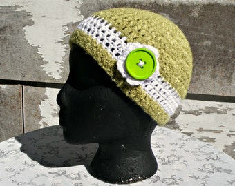 Hat With Flower, Crocheted, Khaki Green and White, Soft Yarn, Adult Beanie Cap