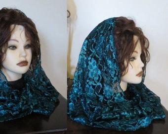 Beautifully  Modest Infinity Hoop Snood Lace Maroon  Headcovering - Church or Chapel veil double loop