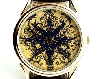 Watch with print from 16th century book, men watch, ladies watch, unisex watch,