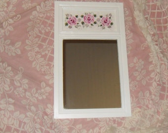 Shabby Cottage Chic Entry Hall Hand Painted Pink Victorian Rose Wooden Framed Wall Mirror