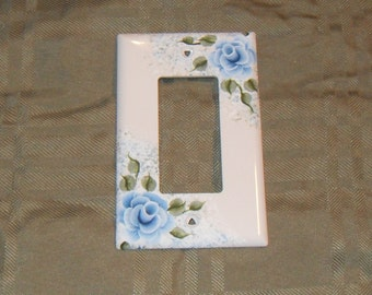 Shabby Cottage Chic Hand Painted Blue Rose Rocker Style Light Switch Cover