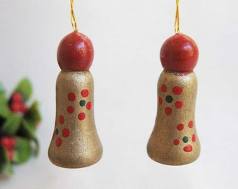 Set of 2 Tiny Vintage Christmas Bell Ornaments, Painted Wood Tiny Miniature Bells, Christmas Holiday Decor