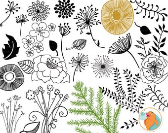 Modern Flower Doodles, PNG Clip Art + Foliage Photoshop Brush,  Floral Digital Stamps & Leaves Silhouettes, Card Making ClipArt